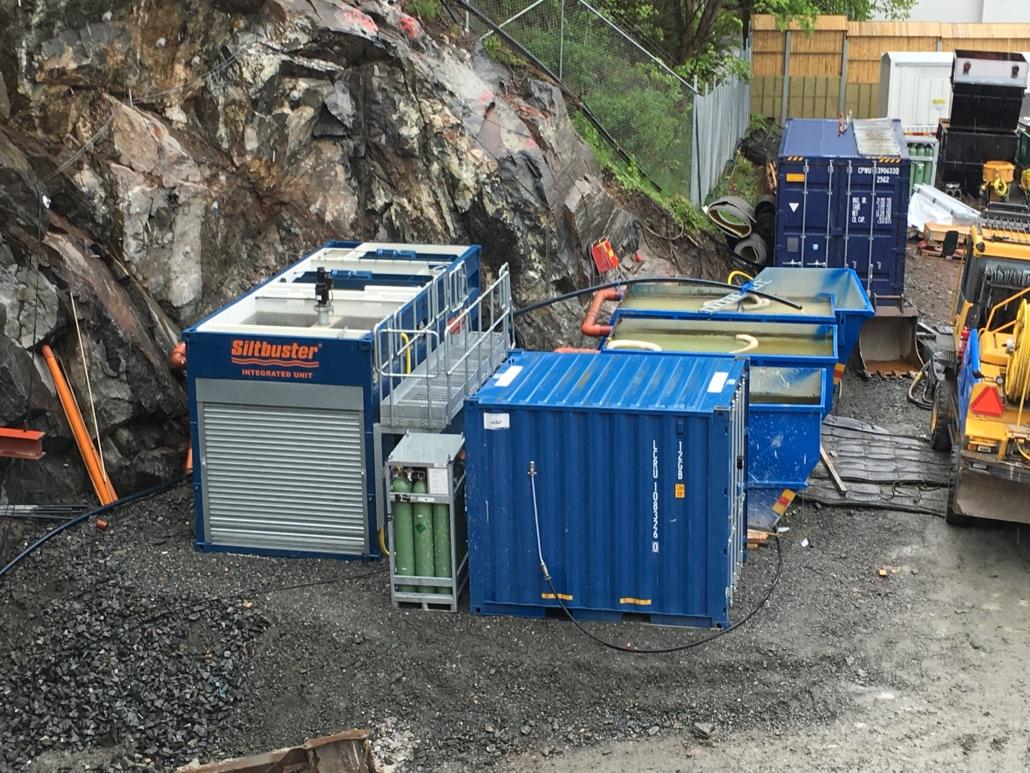 Västlänken Servicetunnel med Siltbuster vattenrening